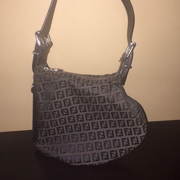 Fendi Zucca Pattern Handbag Vintage Authentic Small
