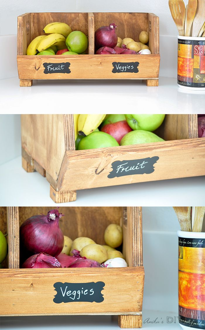 handmade wood decor fruit and veggie holder woodworking home Easy Fruit-Veggie Holder