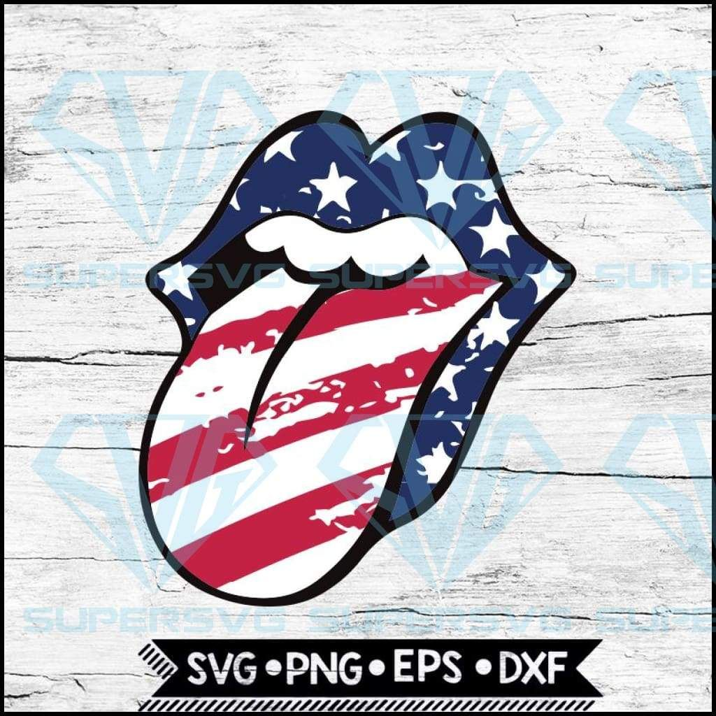 Rolling Stones Lips with Tongue Out Stars & Stripes Svg