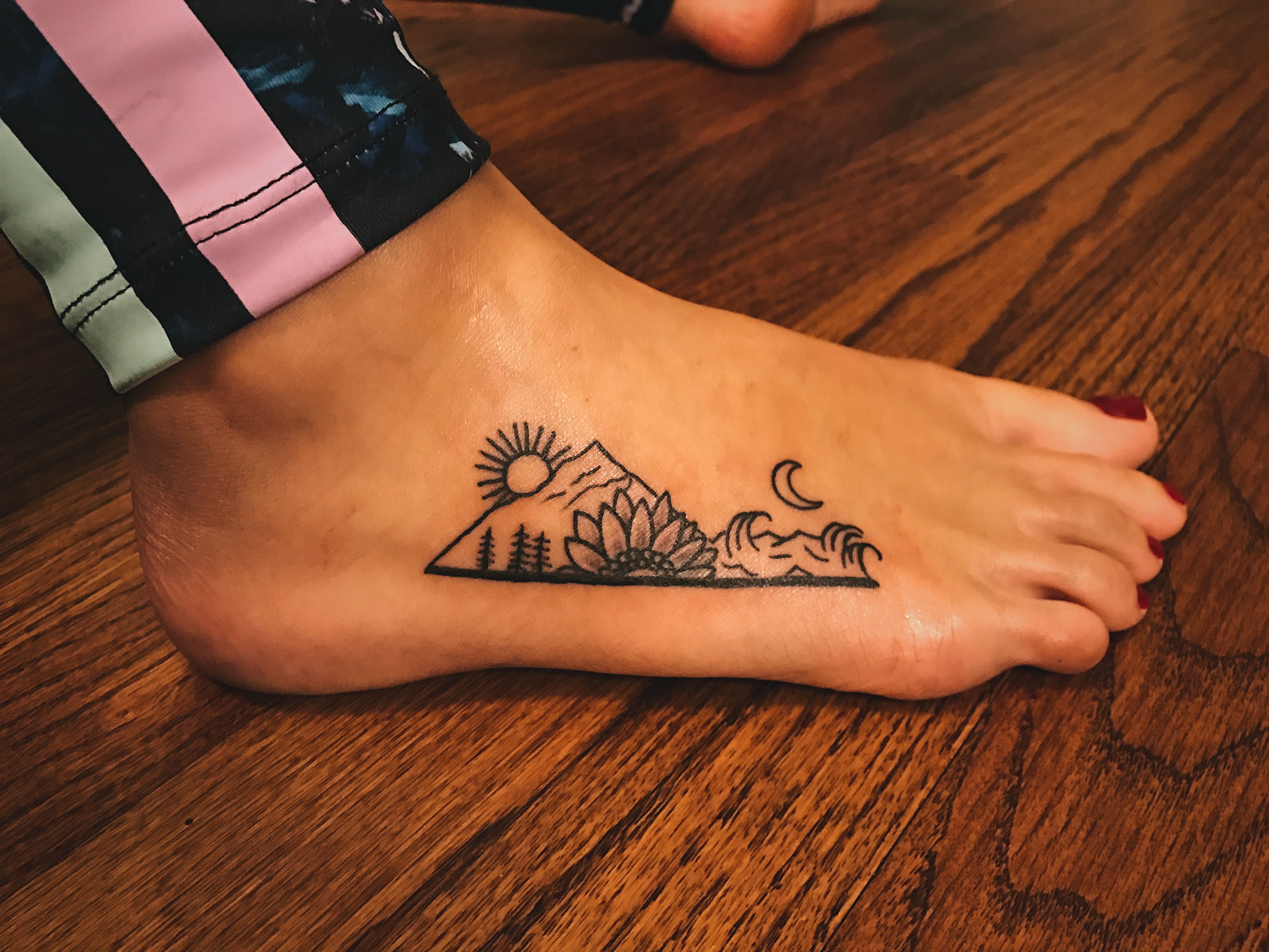 2017 01 small tattoo designs for women on foot - Waves Mountain Sunflower Tattoo Nature_tattoo_quotes