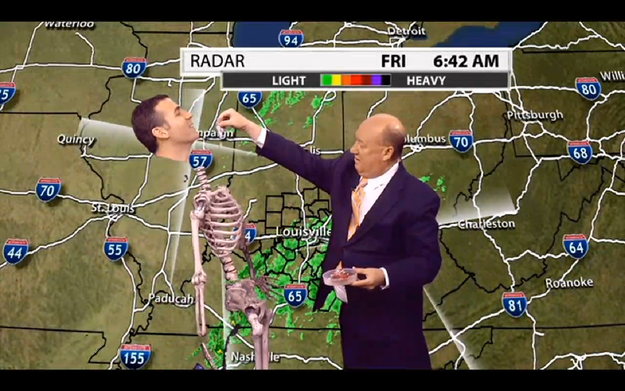 At one point, another anchor came up and put candy into his ribs. | A Weatherman Green-Screened Himself Into A Skeleton And Oh My Gosh, You Need To See It