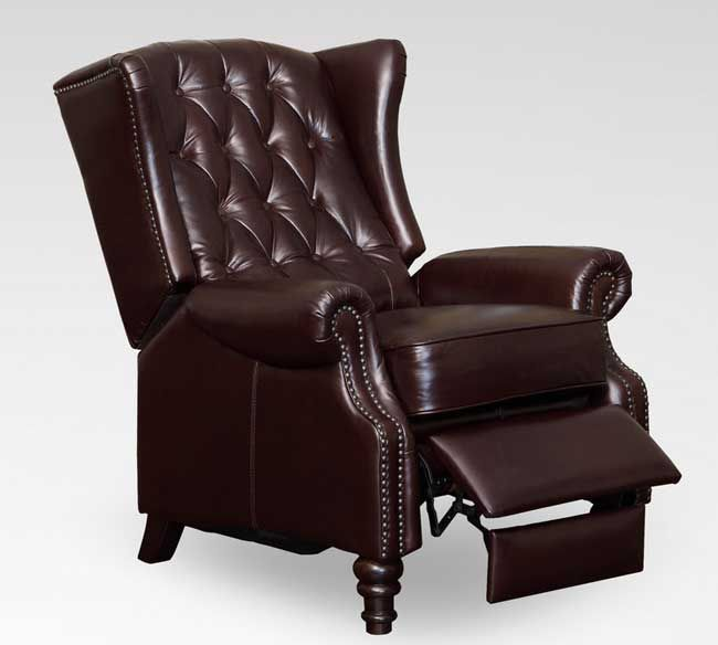 c901615 tufted wing back recliner in vintage cranberry leather for