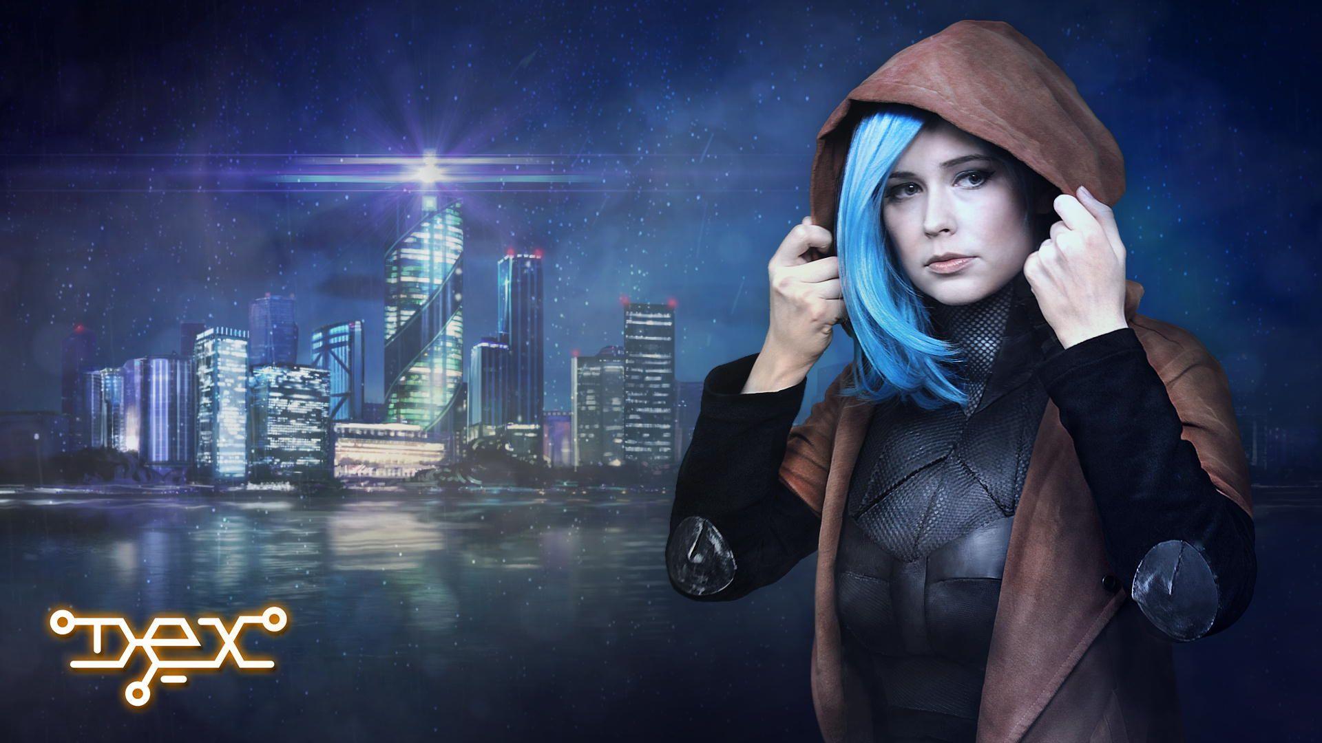 Cosplay of Dex by Baty. Dex - 2D cyberpunk indie RPG game - www.dex-rpg.com