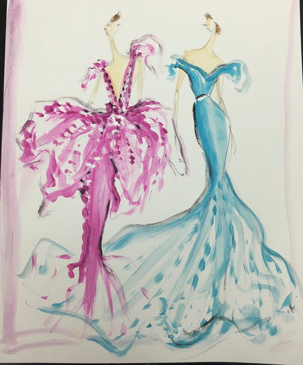 Sketch of the day: pretty organza party dresses! Sketch prints and ...