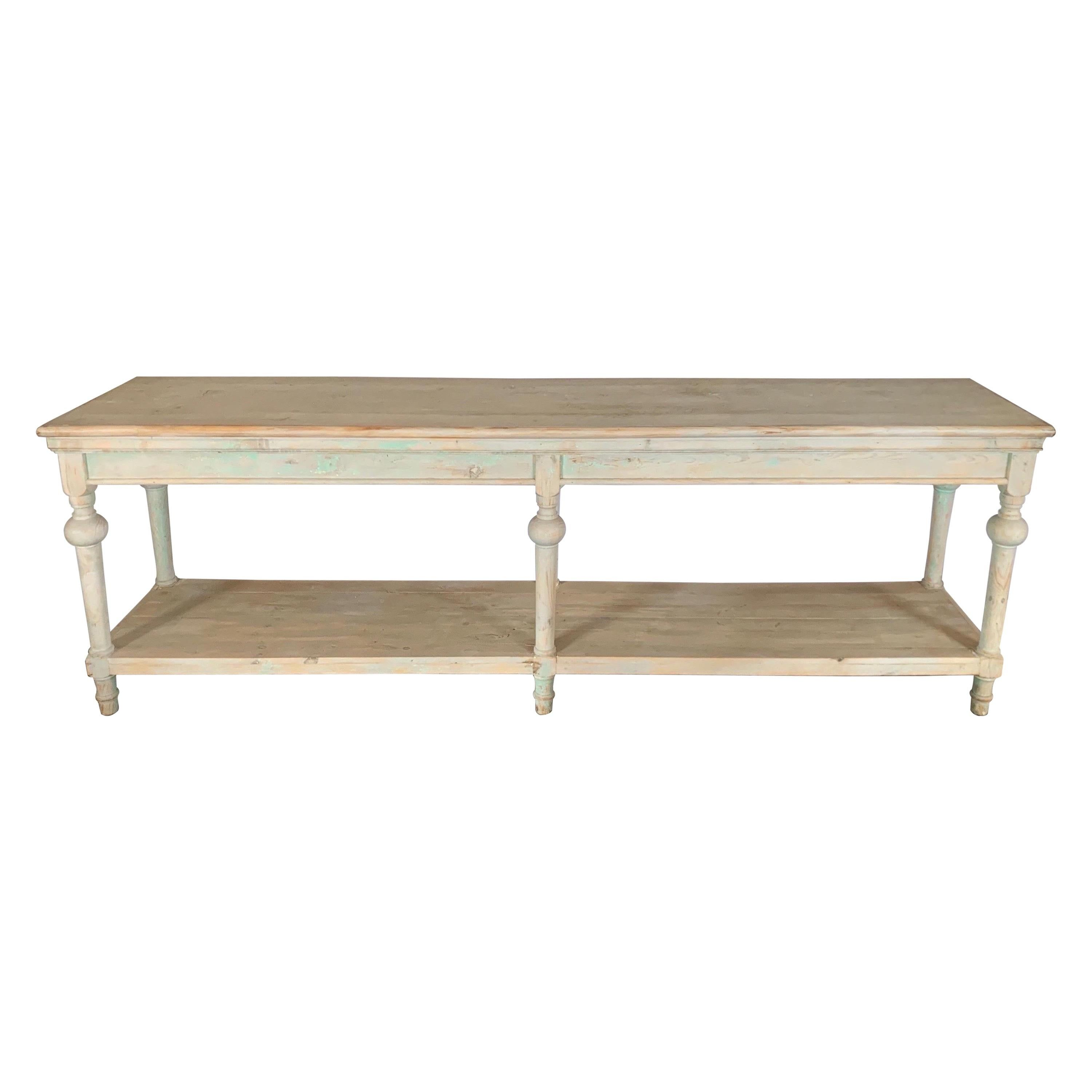 Spanish Vintage Bleached Pine Painted Console Table With Bottom Shelf In 2020 Console Table Shelves For Sale Table