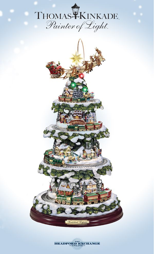 It's all the things you love about Thomas Kinkade's artistic vision in one  tabletop Christmas tree! Listen to a medley of 8 beloved carols while you  watch ... - Thomas Kinkade Tree With Lights, Moving Train, Music CHRISTMAS