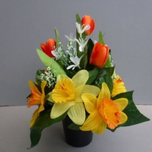Pot for memorial vase with artificial daffodils | Floral ...