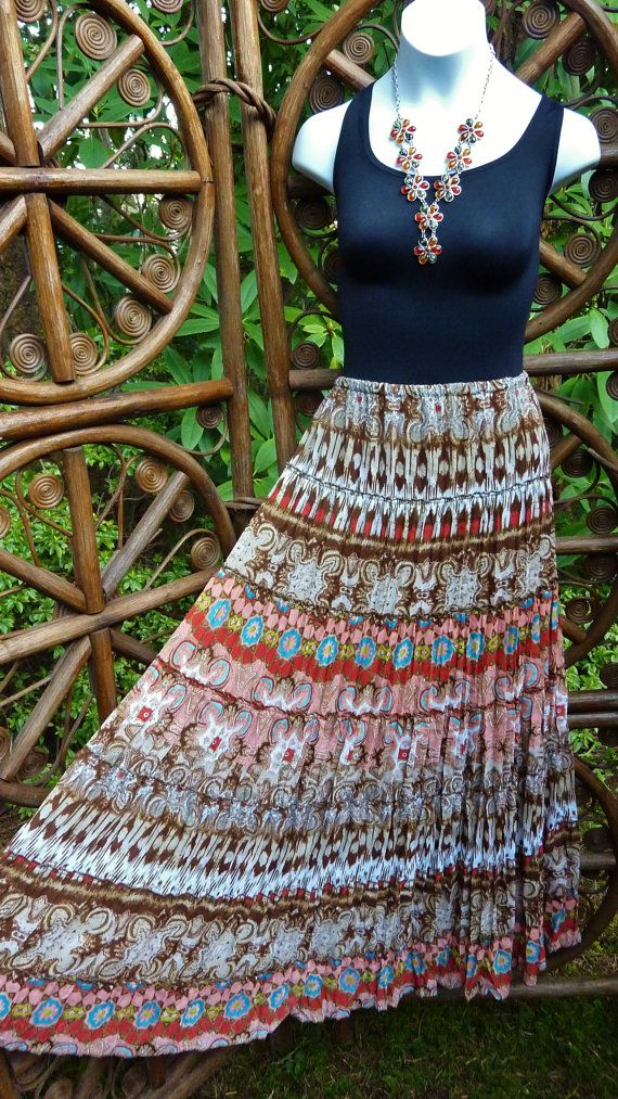 Ethnic 7 tiered broomstick skirt : permanent by LamplightGifts