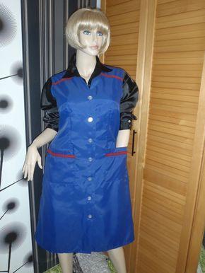 Details zu Nylon Kittel Schürze Dederon Glanz Blouse Sissy ...