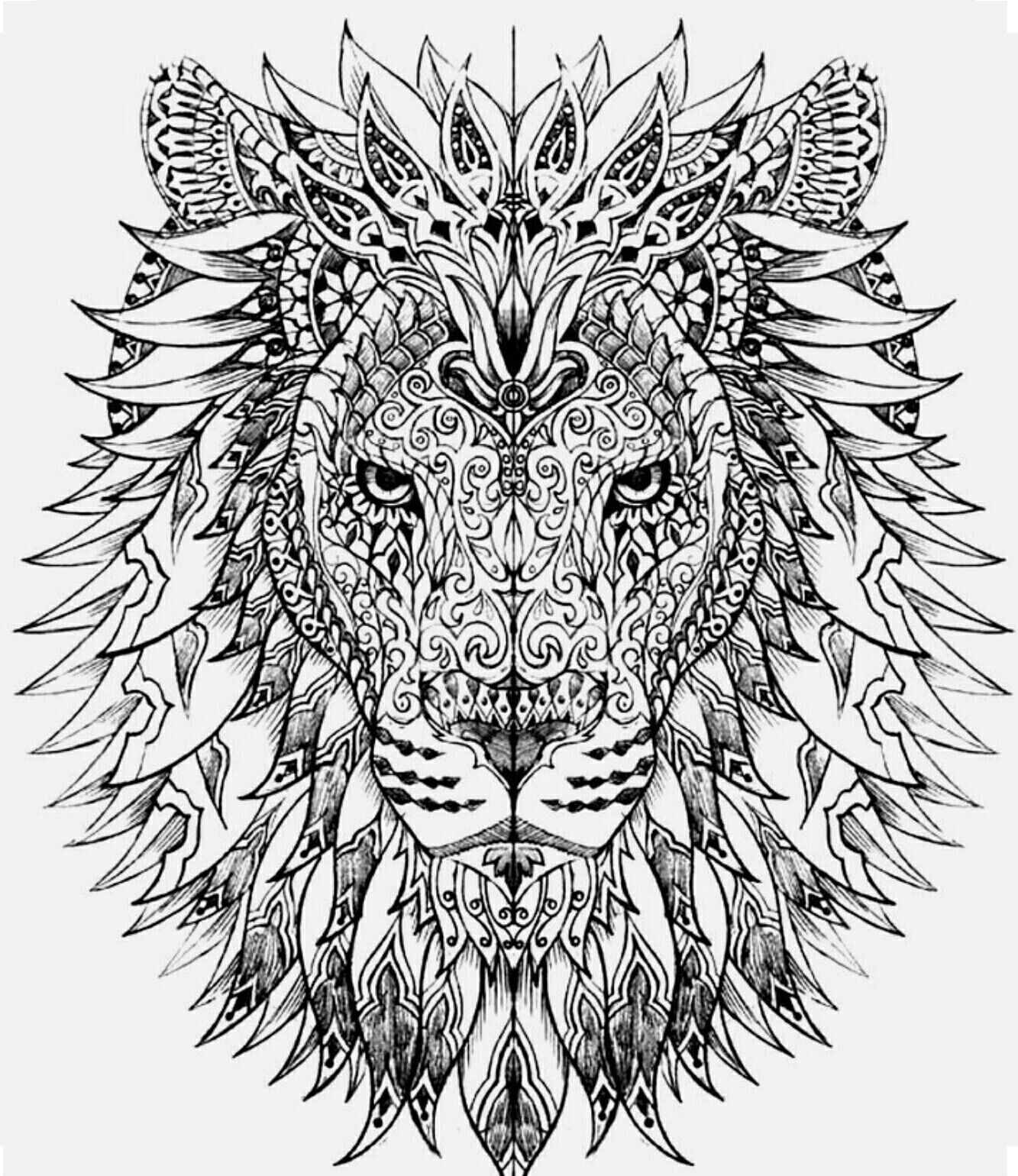 Lion Color Page Animal Coloring Pages Printable Adult Coloring