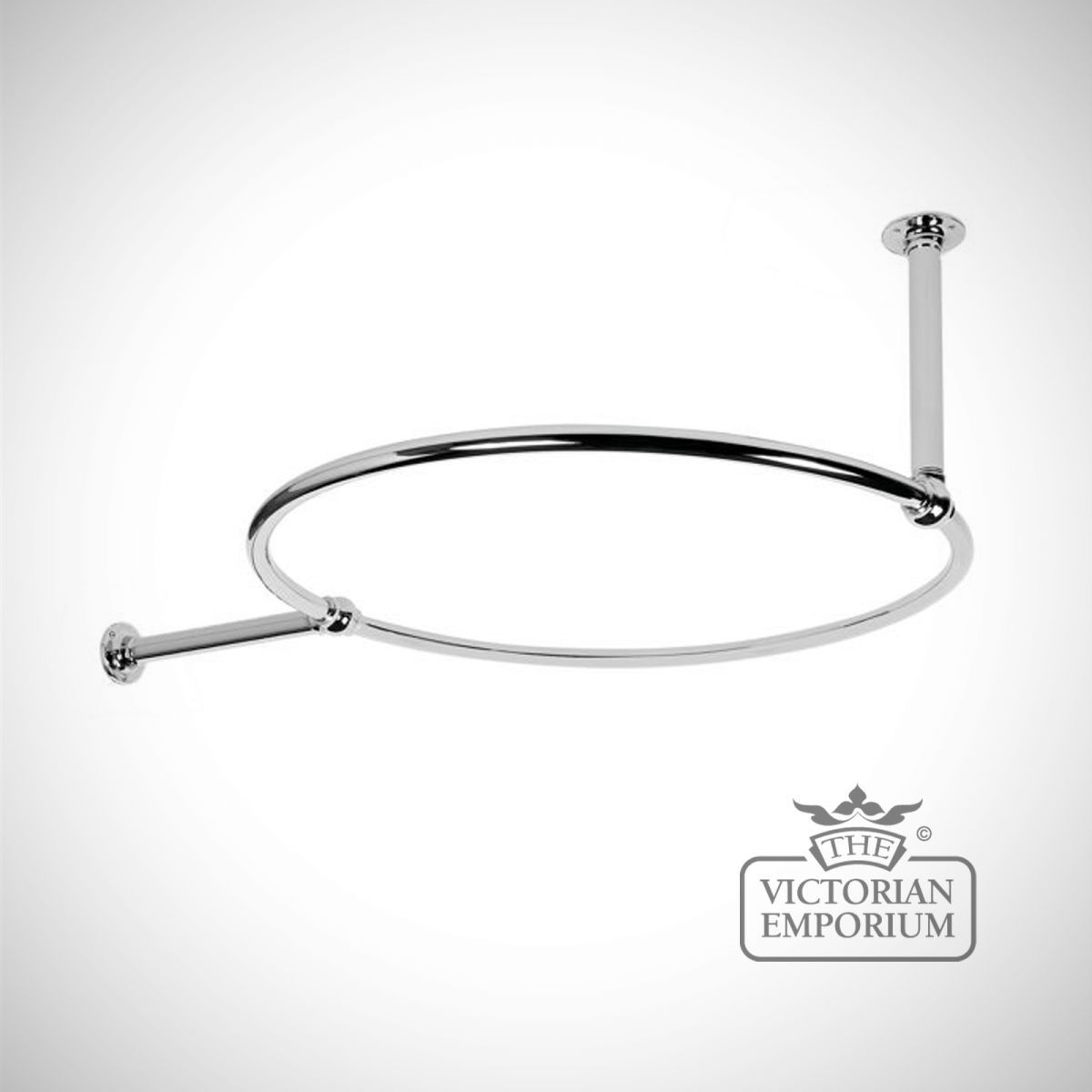 Buy Round Shower Curtain Rail Chrome with a Wall and Ceiling stay ...