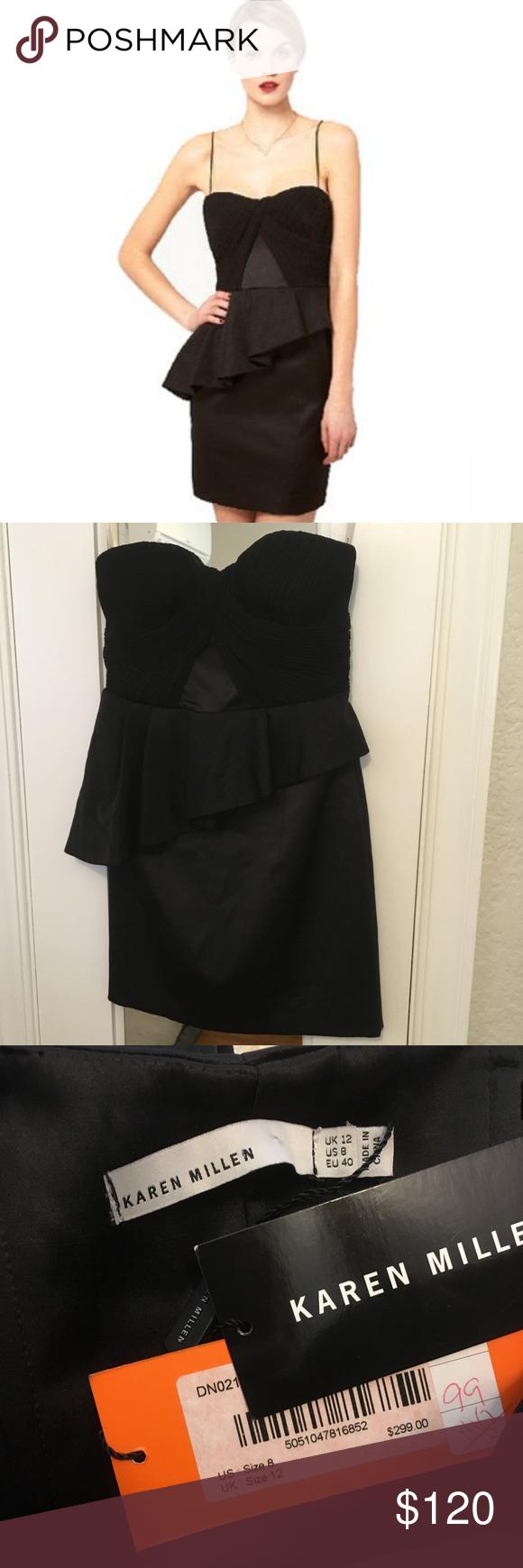 dbbb0194eca Karen Millen Straples Corset Peplum Dress NWT Plisse Technique strapless black  corset dress features a pleated