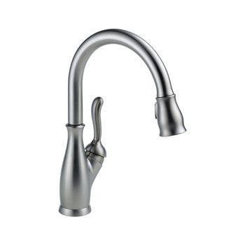 Delta 9178 Ar Dst Leland Single Handle Pull Down Kitchen Faucet Arctic Stainless A Charm Stainless Kitchen Faucet Best Kitchen Faucets Delta Kitchen Faucet