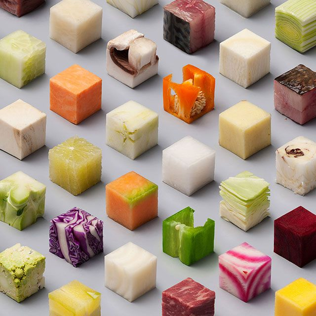 This is a Real Photo of Food Cut Into Perfect Cubes.  Lernert & Sander