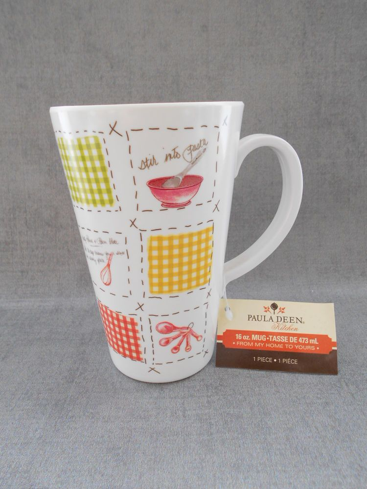 Paula Deen Plastic Coffee Mug Cup 16 Oz Patchwork Color Block Pasta New W Tags Pattern With