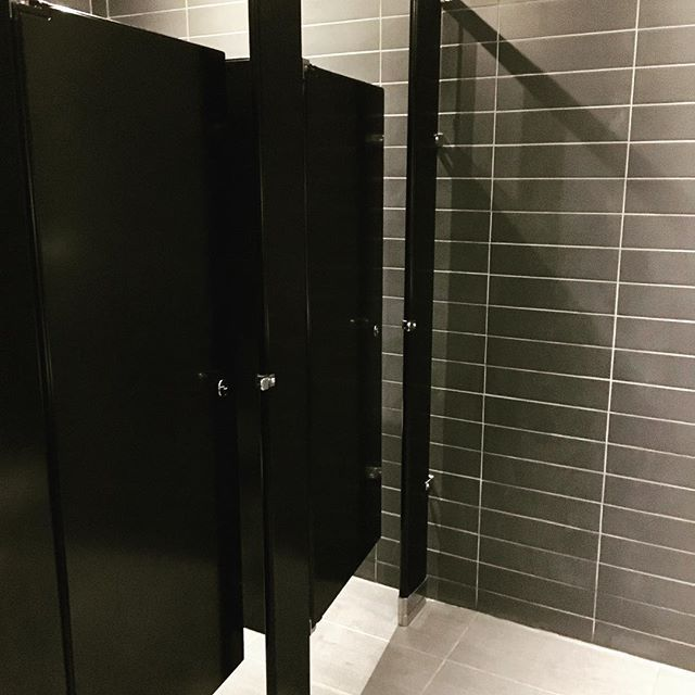 Black And Shiny Chrome Hadrian Partitions Are Knockouts In This Inspiration Hadrian Bathroom Partitions Remodelling