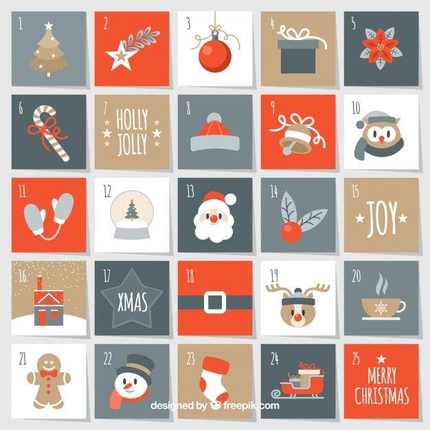 Nice christmas advent calendar Free Vector Holidays Christmas