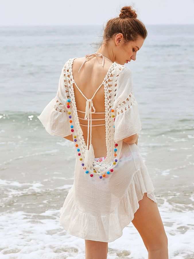 2494184d74 Shein Crochet Insert Backless Tassel Tie Pom Pom Cover Up   Products ...