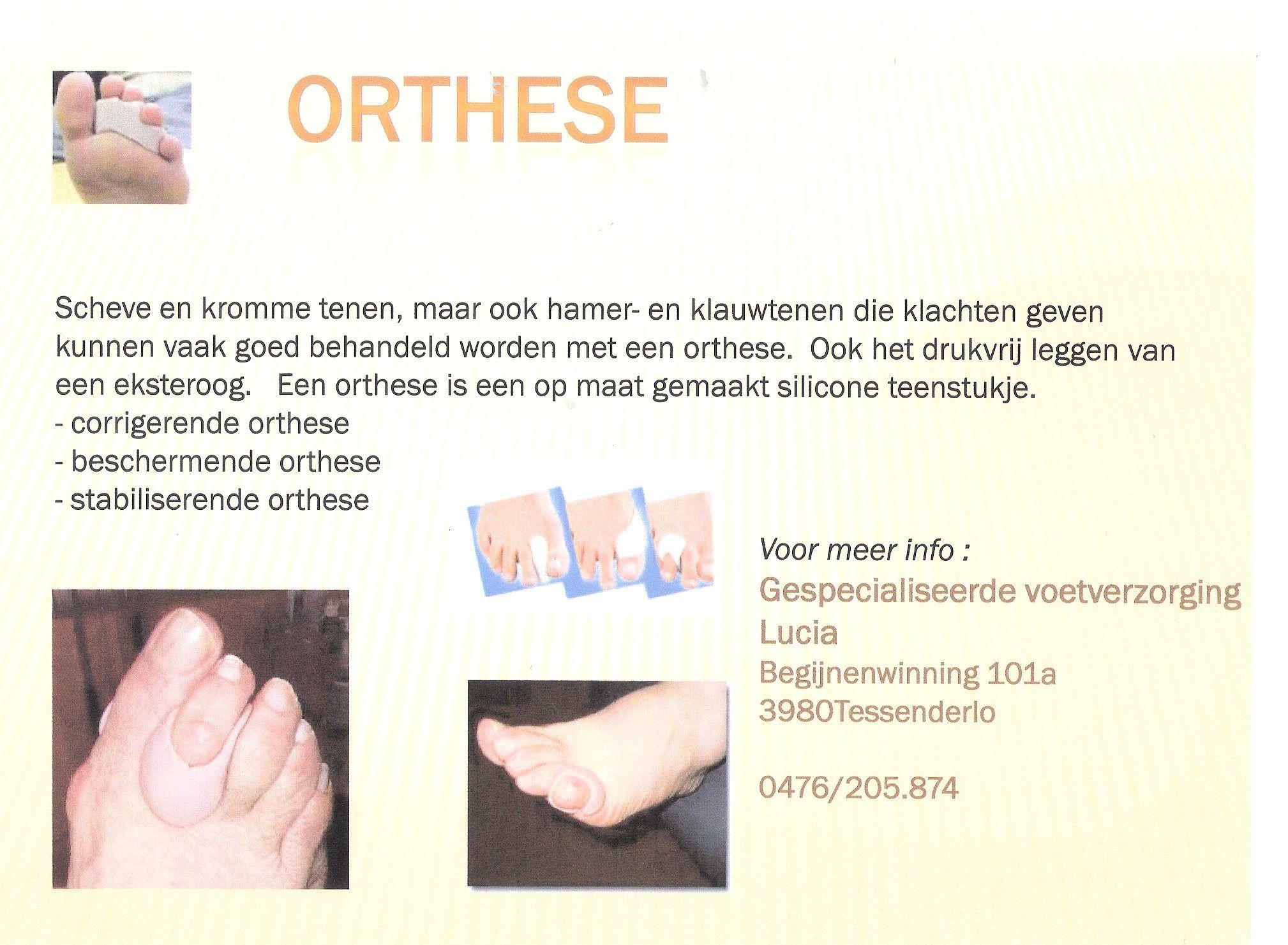 Vanaf nu ook orthese te  bekomen bij gespecialiseerde voetverzorging Lucia