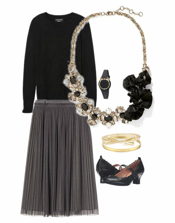 f7cafdea2b2 Design board showing Banana Republic grey tulle skirt and black crew neck long  sleeve sweater with ruffle cuff. Also shown Banana Republic statement ...