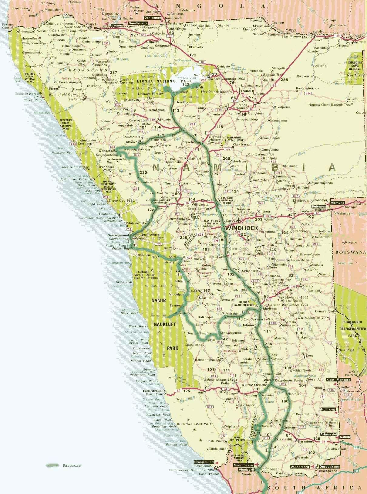 Carte Afrique Du Sud Namibie.Carte Namibie Geweest En Gezien Namibie Afrique Du Sud