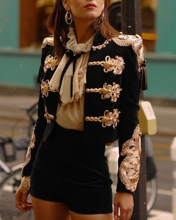 Long Sleeve Buttoned Detail Coat