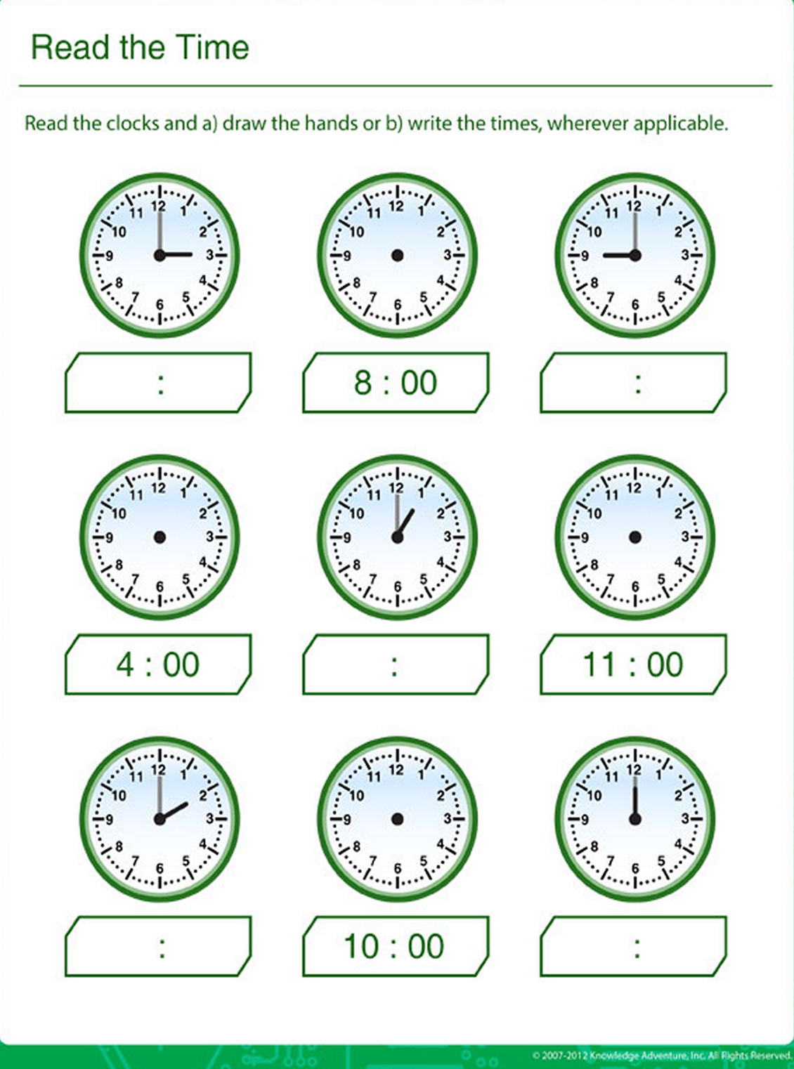 learn clock reading for kids printable math sheets pinterest math and learning. Black Bedroom Furniture Sets. Home Design Ideas
