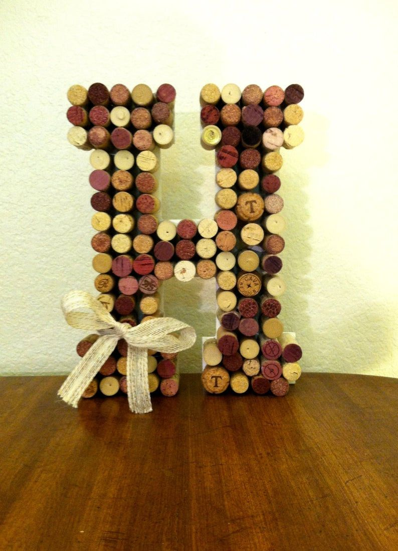Photo of Wine Cork Letter, Wine Cork Monogram, Corkboard, Cork Wreath, A, B, C, D, E, F, G, H, I, J, K, L, M, N, O, P, Q, R, S