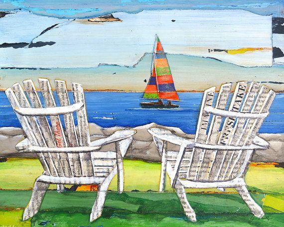 Adirondack Chairs Sailboat Beach Lake ART PRINT Or CANVAS Coastal Poster  Wall Home Decor Painting Summer