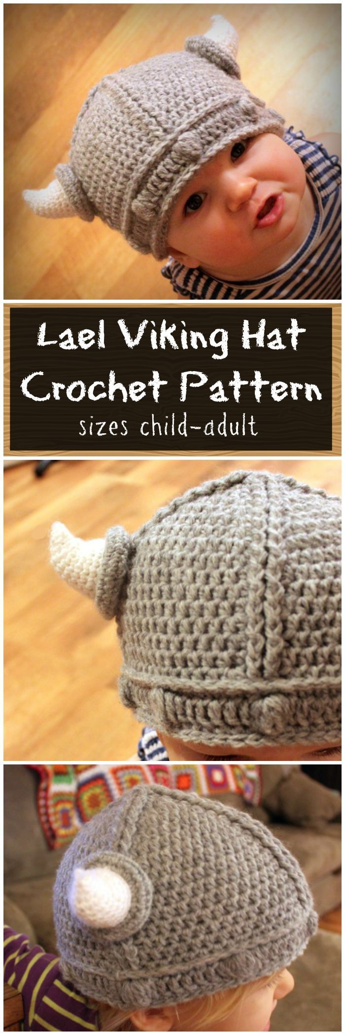 Crocheted Viking Hat Pattern for children to adult. Such a cute hat ...