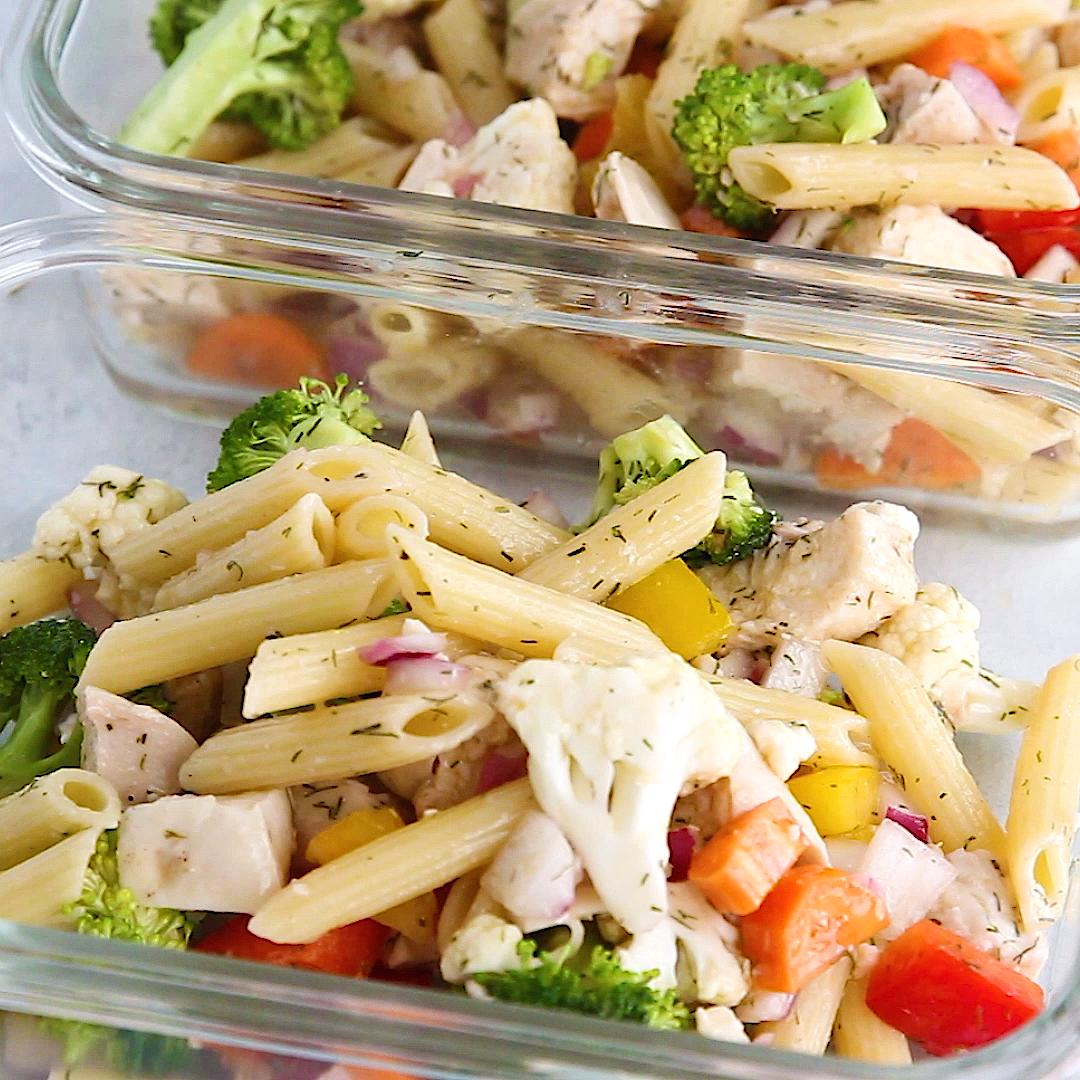 Healthy Greek Chicken Pasta Salad Recipe #healthyfood
