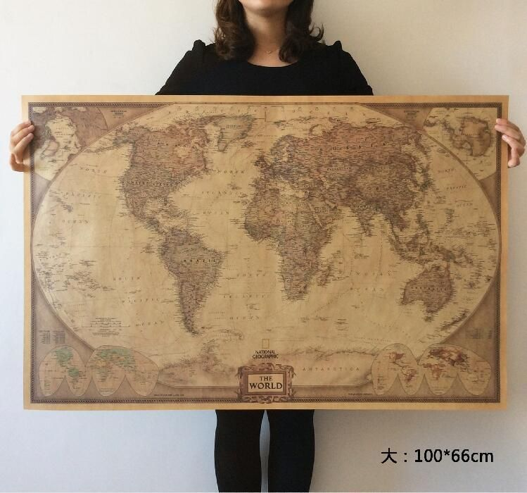 World map poster large vintage earth globe decor kraft paper bar new world map poster large vintage earth globe decor kraft paper bar shop chart gumiabroncs Choice Image