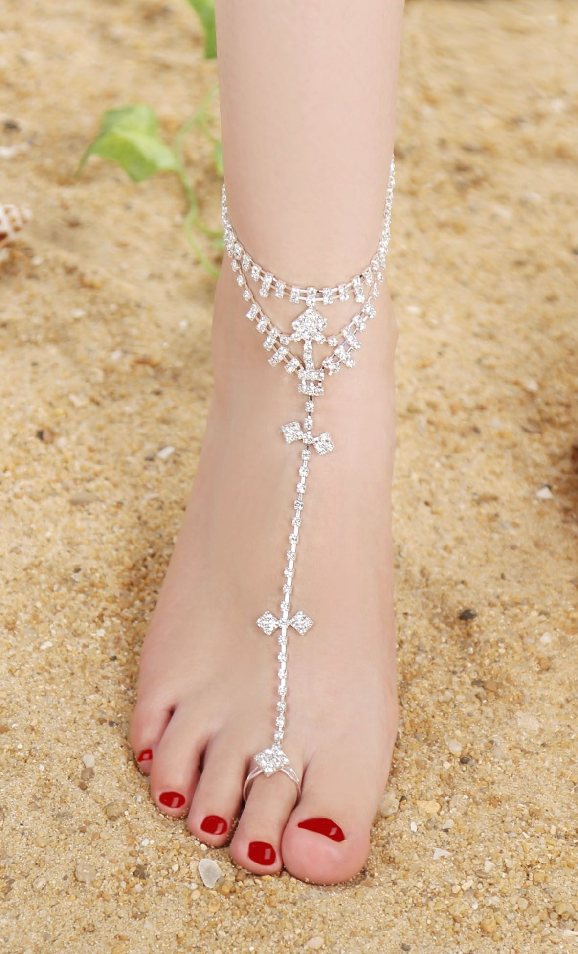 wedding anklet foot jewelry pin rhinestone cross toe things ring anklets