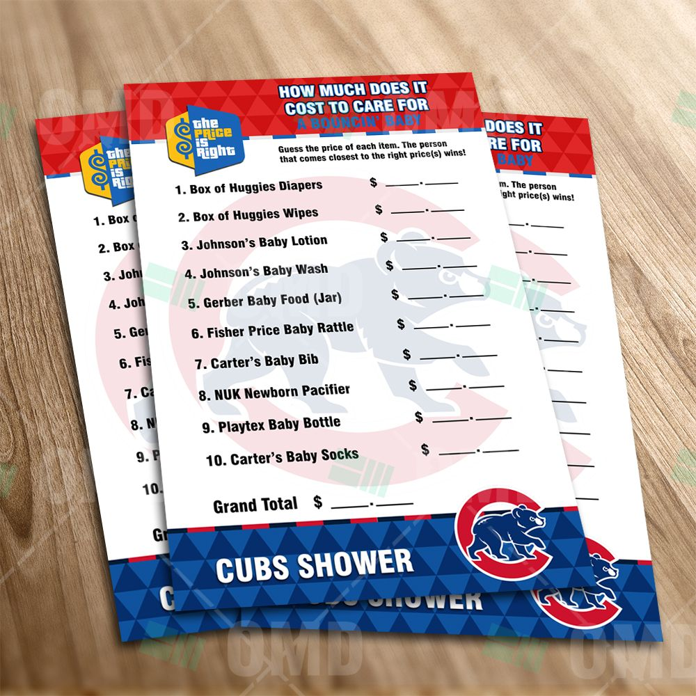 Chicago Cubs Price Is Right Baby Shower Game Baby