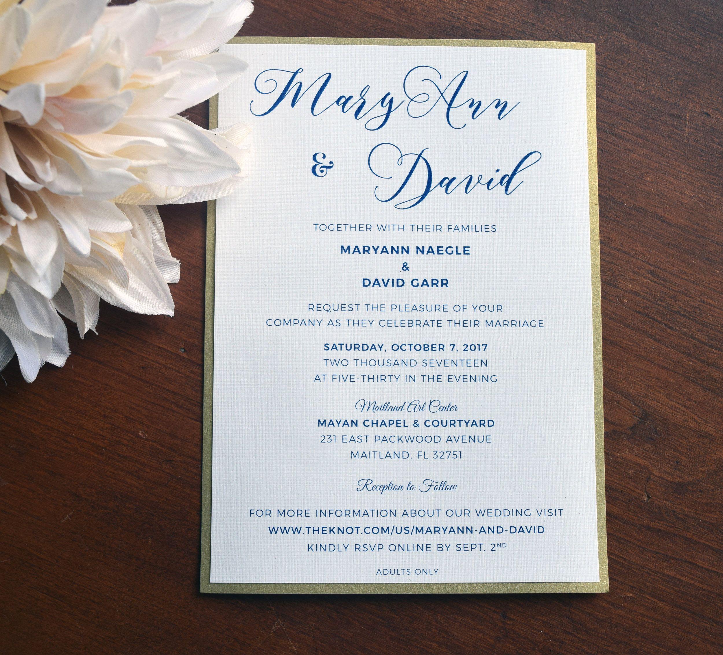 Navy And Gold Wedding Invitation Script Font Wedding Invitations