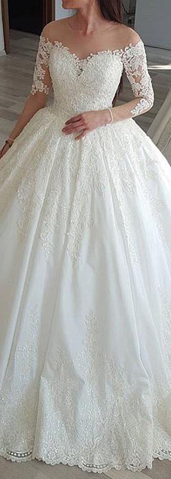 Alluring tulle jewel neckline long sleeves ball gown wedding dress