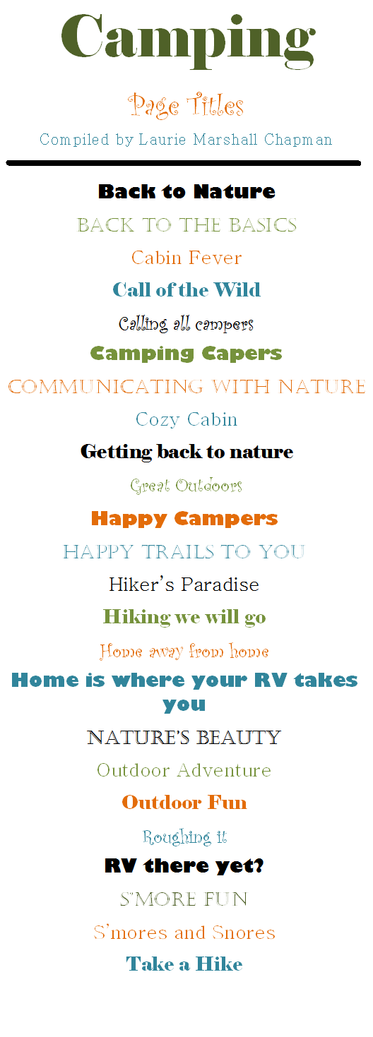 Fun Page Title Ideas For Your Camping Pages Creativememories