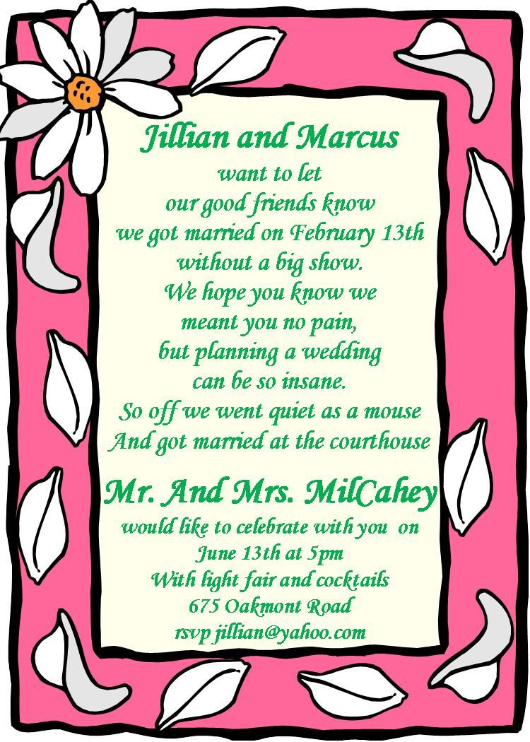 After the Wedding Party Invitations or Elopement Party invitations ...