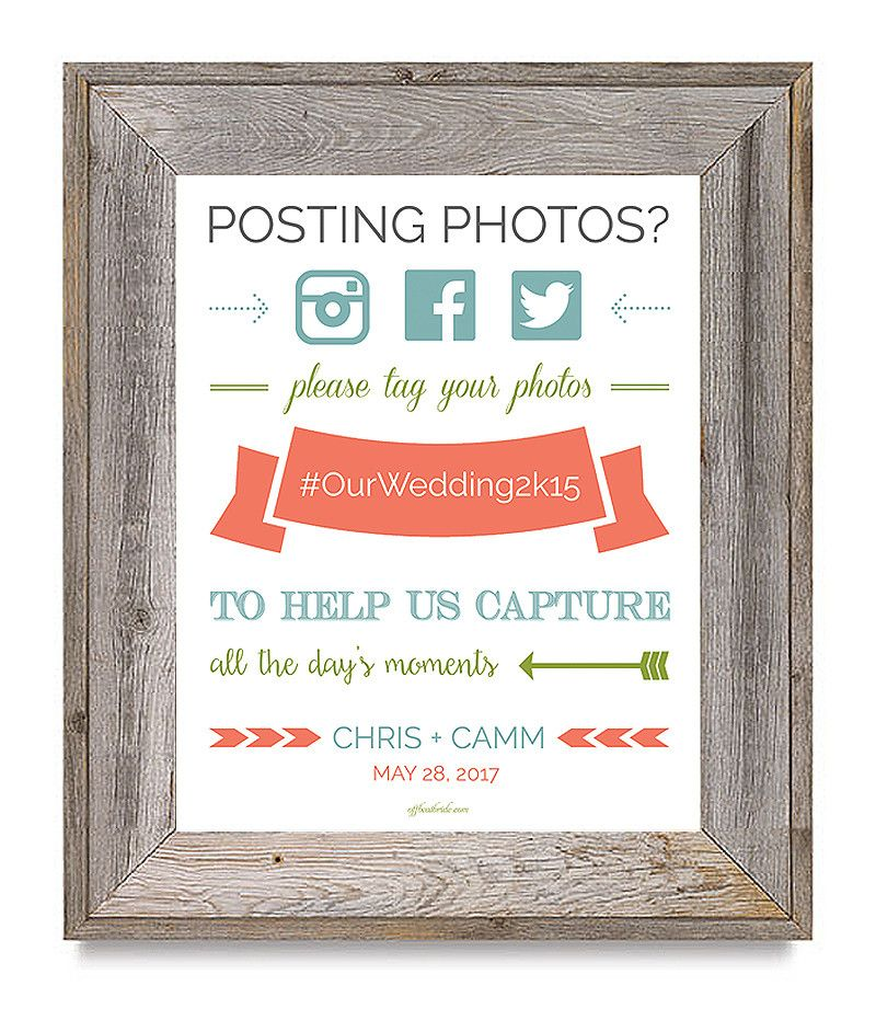 Free Wedding Hashtag Sign Printable From Offbeatbride