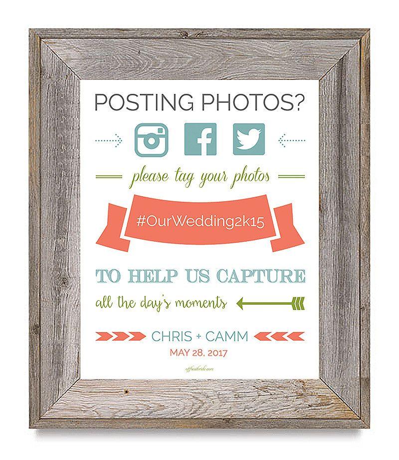 Super cute free printable wedding hashtag sign Wedding