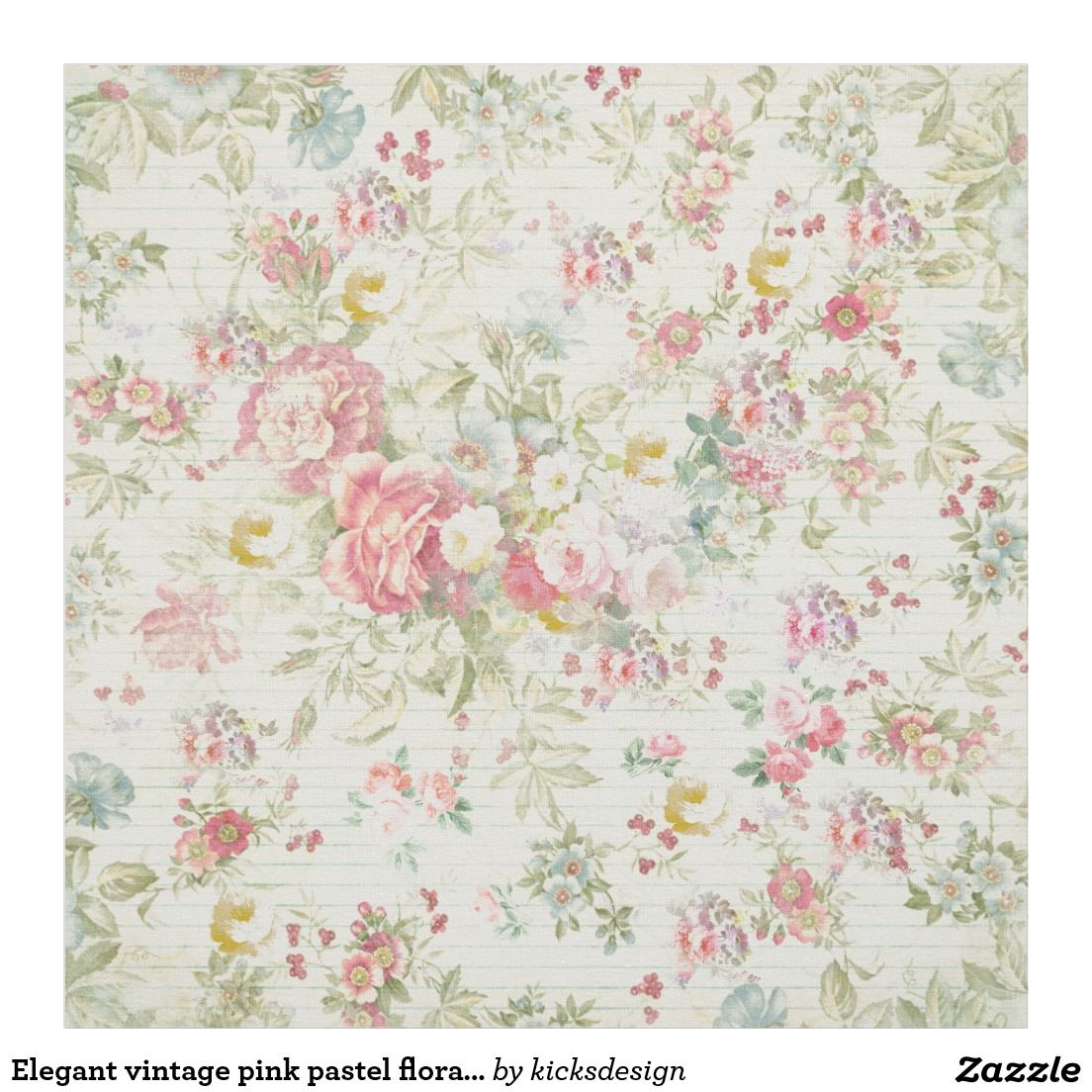 Elegant Vintage Pink Pastel Floral Pattern Fabric Tile Patterns