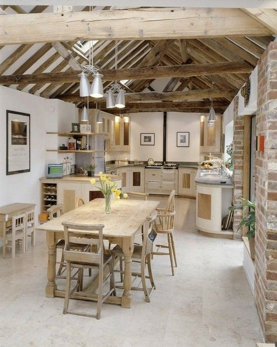 Exceptionnel Cool 39 Dream Barn Kitchen Designs : Cool 39 Dream Barn Kitchen Designs  With White Ceramic Flooring Dining Table Bar Stool Chandelier Kitchen  Island Oven ...