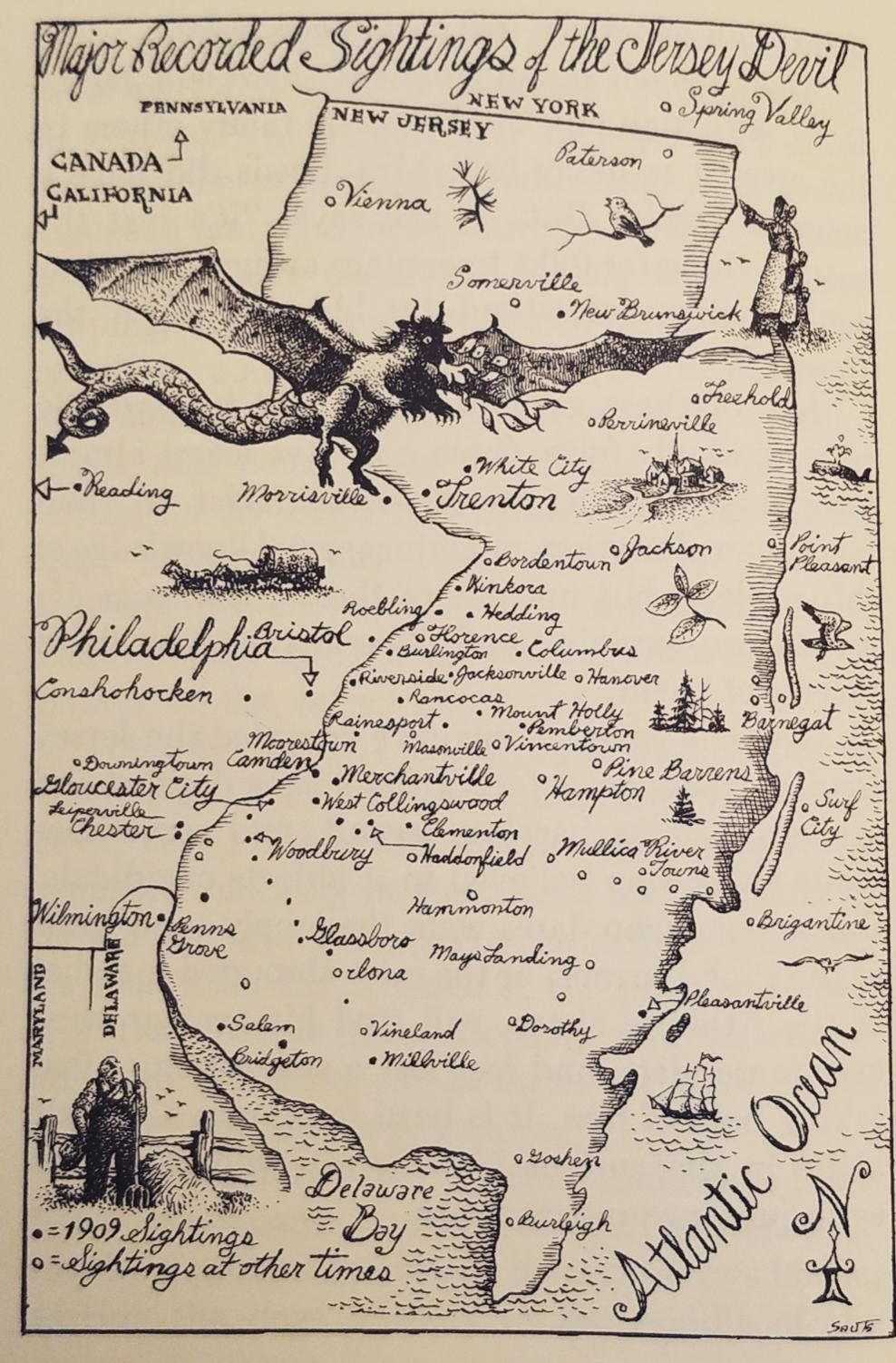 Major Recorded Sightings Of The Jersey Devil Maps Wonderful