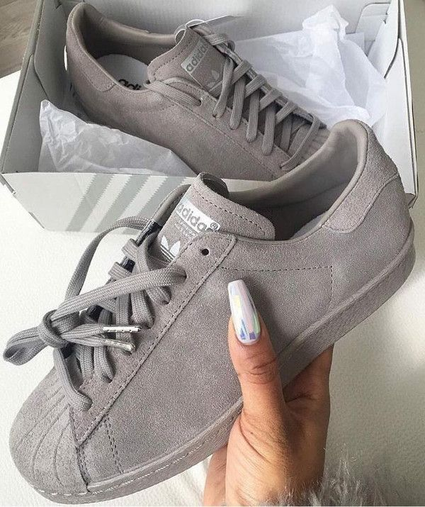 grey suede Adidas Superstar