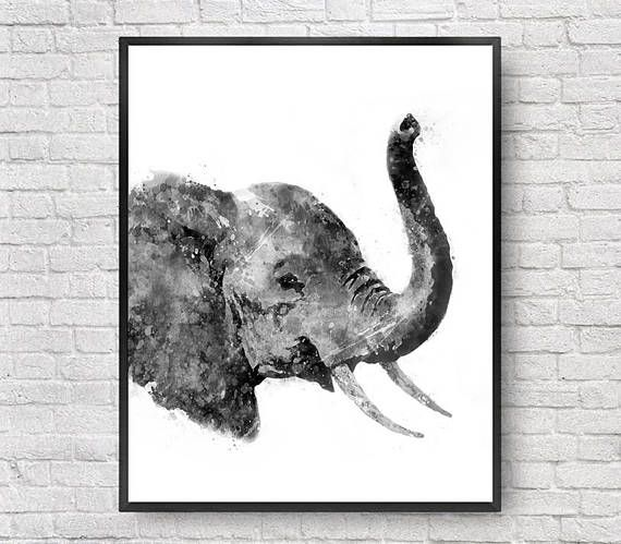Black white elephant watercolor print jungle nursery decor kids art print childrens wall