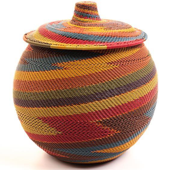 Wire Woven Lidded Basket From The Zulu People Of