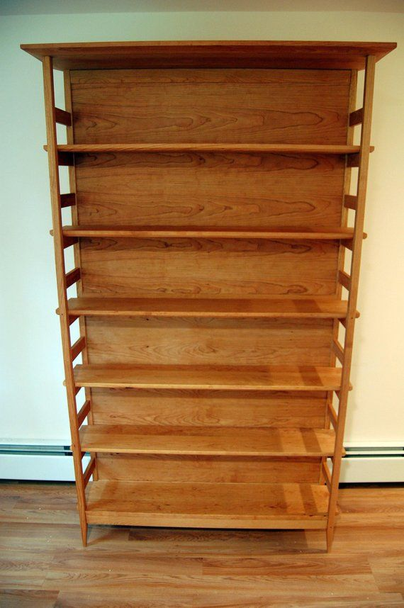 Cherry Asian Style Tall Bookshelf With Adjustable Shelves Etsy Tall Bookshelves Adjustable Shelving Shelves