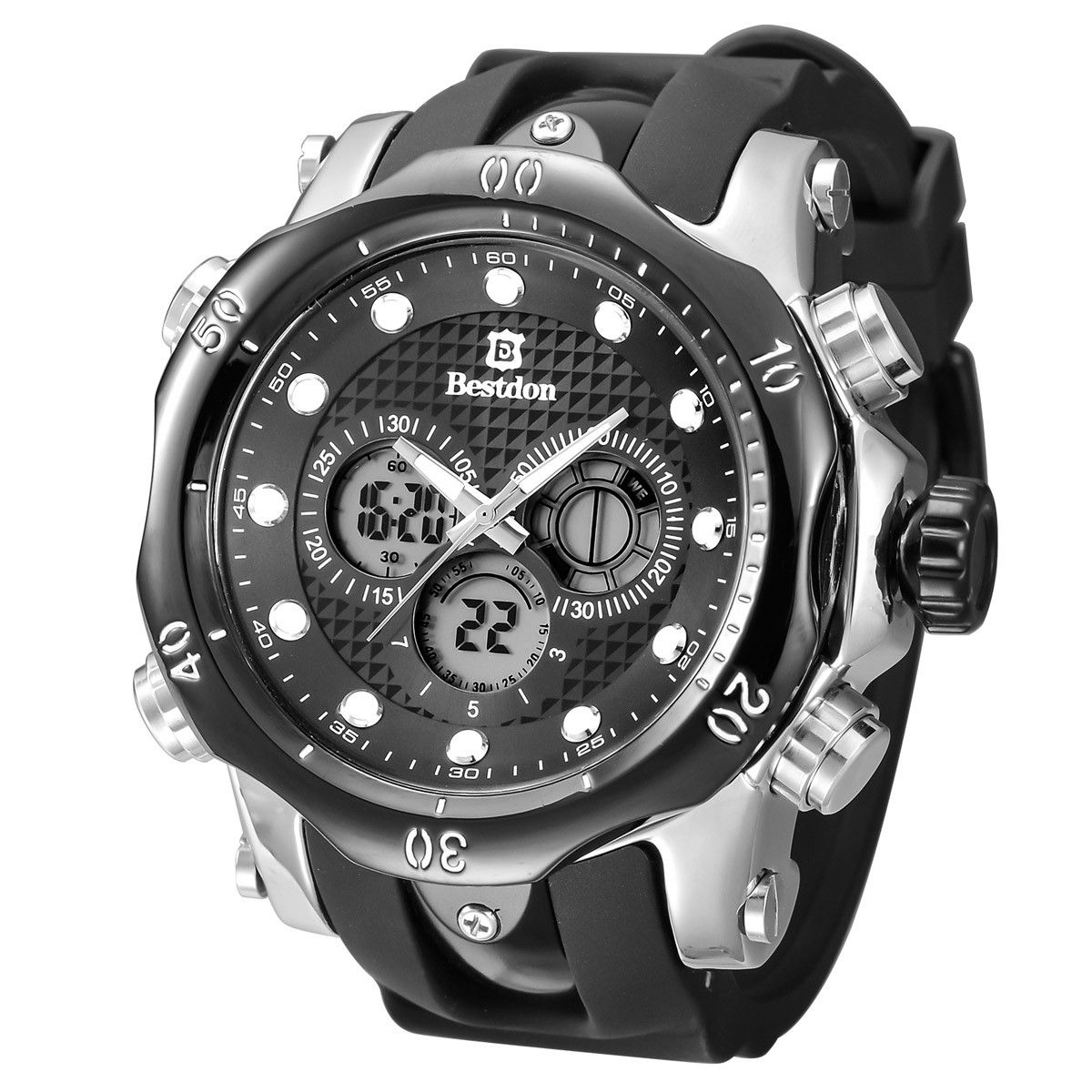 BESTDON BD5515G Men's Quartz & LED Electronics Dual Time Display Wrist Watch