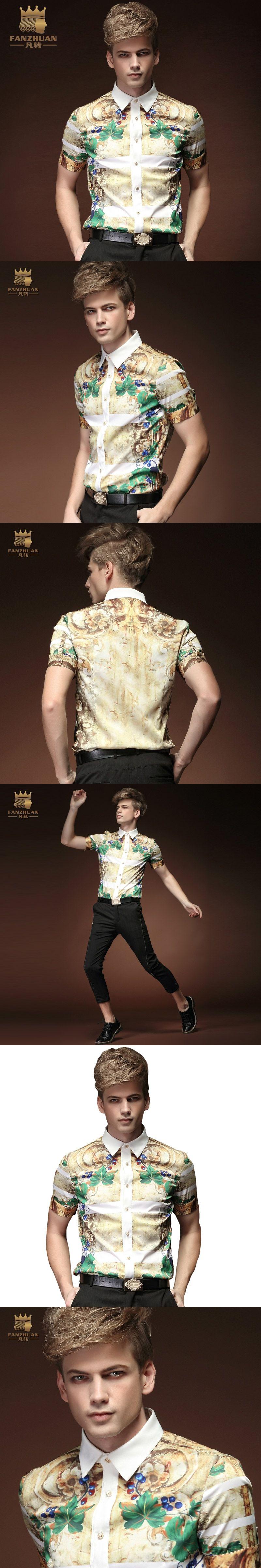 94e5ff947ccc FANZHUAN Summer Floral Print Men Shirts Short Sleeve Mens Casual Shirt Slim  Men Dress Shirts Floral