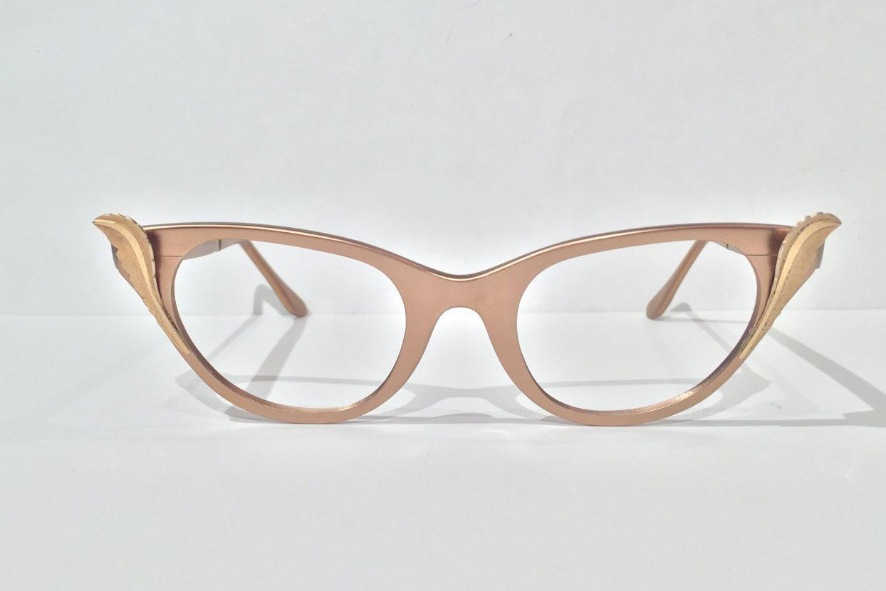 Rose Copper Aluminum Tura Cat Eye Glasses, Vintage NOS Tura Cateye ...